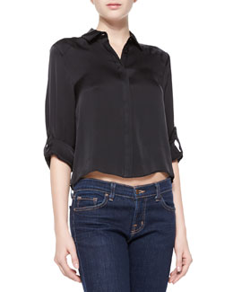 Alice + Olivia Sharon Cropped Button-Down Blouse