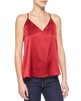 Alice + Olivia Double-Strap Satin Flowy Top