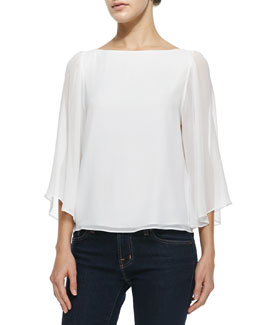 Alice + Olivia Josie Bell-Sleeve Silk Top