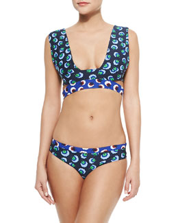 Mixed-Print Cutout Two-Piece