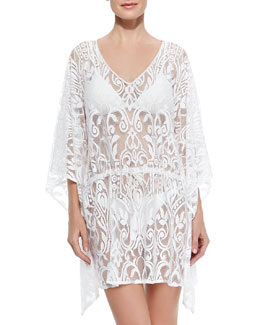 Marie France Van Damme V-Neck Lace Caftan Coverup