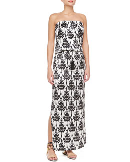 Marie France Van Damme Strapless Baroque-Print Maxi Dress