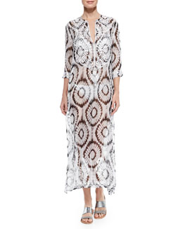 Marie France Van Damme Kurta Sheer Silk Embroidered Coverup