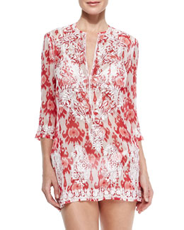 Marie France Van Damme Embroidered Sheer Silk Short Coverup Tunic