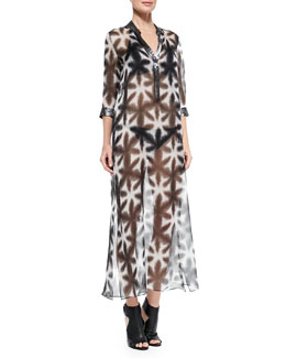 Marie France Van Damme Nehru Sequin-Trim Caftan Coverup