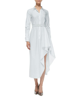 Theory Diaz Asymmetric Long Shirtdress