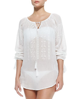 Calcutta Embroidered Voile Coverup Tunic