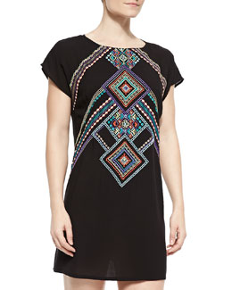 Carmenita Embroidered Open-Back Tunic