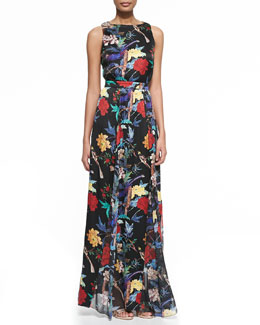 Alice + Olivia Elis Floral-Print Silk Maxi Dress