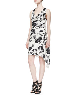 Haute Hippie Sleeveless Cowl-Neck Floral Dress