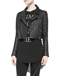 Haute Hippie Cropped Quilted Leather Moto Jacket