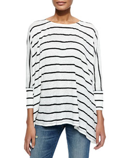 Alice + Olivia Pattie Striped Slub Tee