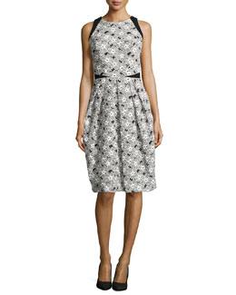 Carmen Marc Valvo Sleeveless Cocktail Dress with Lace Overlay