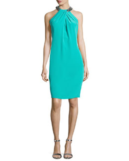 Carmen Marc Valvo Bead-Neck Toga Cocktail Dress, Jade