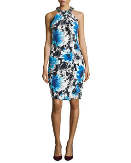 Carmen Marc Valvo Floral Cocktail Dress with Beaded Halter