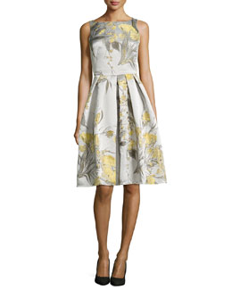 Carmen Marc Valvo Sleeveless Cocktail Dress in Floral Jacquard