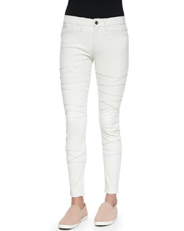 FRAME Le Leather Rip Skinny-Fit Jeans