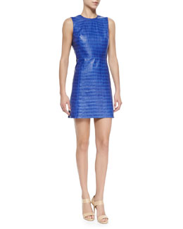 Alice + Olivia Kasia Croc-Embossed Leather Dress