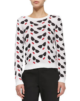 Alice + Olivia Sunglasses/Lips Printed Knit Sweater