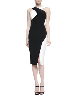 Rachel Gilbert Marique Beaded Colorblock Crisscross Dress, Black/Ivory