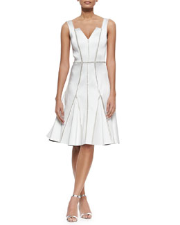Rachel Gilbert Kasia Beaded-Seam Fit-and-Flare Dress, Ivory