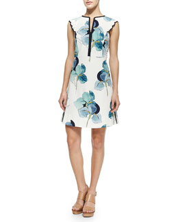 Tory Burch Edith Floral-Print Flare Dress