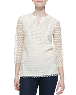 Tory Burch Tali-3/4-Sleeve Combo Honeycomb Top