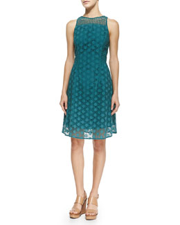 Tory Burch Hallie Circles Eyelet Dress, Pond