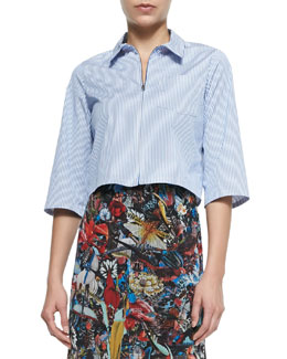 Alice + Olivia Diana Zip-Front Cropped Shirt