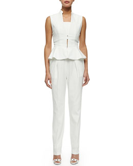 Alice + Olivia Erica Sleeveless Cutout Peplum Jumpsuit
