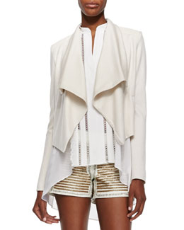 Alice + Olivia Cory Draped Open Crepe Jacket