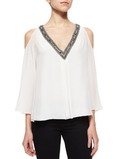 Alice + Olivia Rivera Beaded V-Neck Blouse