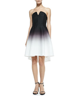 Halston Strapless Structured Ombre Dress