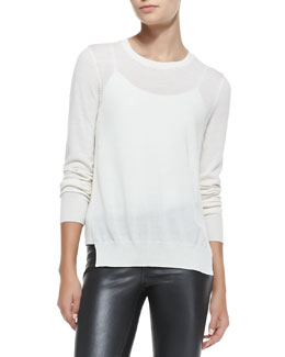 J Brand Ready to Wear Theodate Sheer Ribbed-Hem Sweater