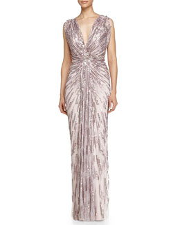 Jenny Packham Draped Starburst Sequined Gown