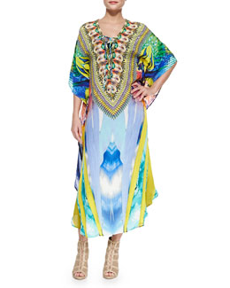 Beaded Lace-Up-Front Long Coverup