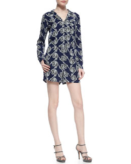 Derek Lam 10 Crosby Printed Long-Sleeve Silk Romper
