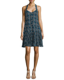 Derek Lam 10 Crosby Printed Pleated-Hem Silk Dress