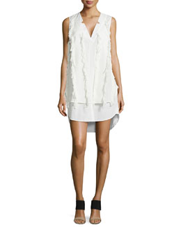 Derek Lam 10 Crosby V-Neck Poplin Shirtdress with Fringe