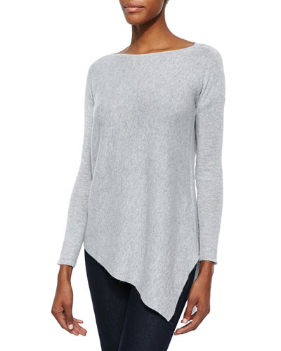 Ribbed Knit Asymmetric Pullover Sweater