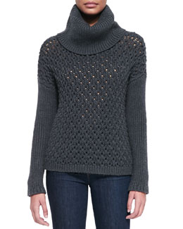 Alice + Olivia Chunky-Knit Dropped-Shoulder Turtleneck