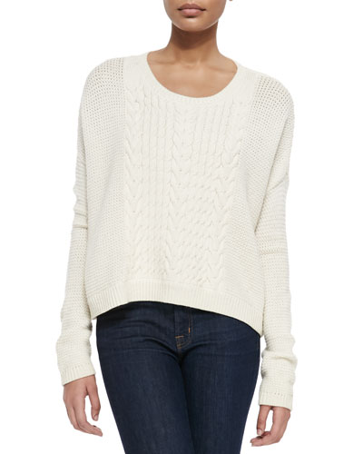 Scoop-Neck Open-Weave Sweater