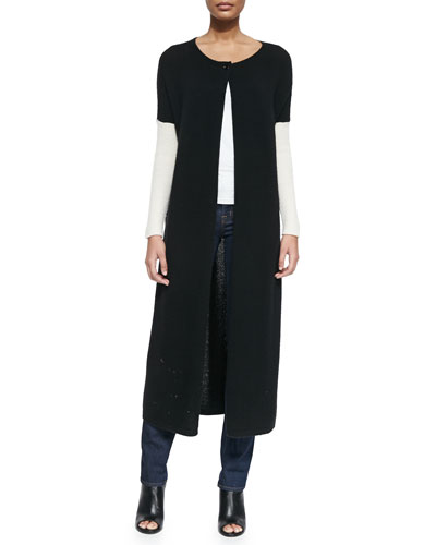 Duster-Length Long-Sleeve Ribbed Cardigan