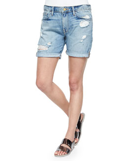 FRAME Le Grand Garcon Distressed Cuffed Shorts