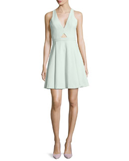 Alice + Olivia Nina Cutout Swingy Crepe Dress