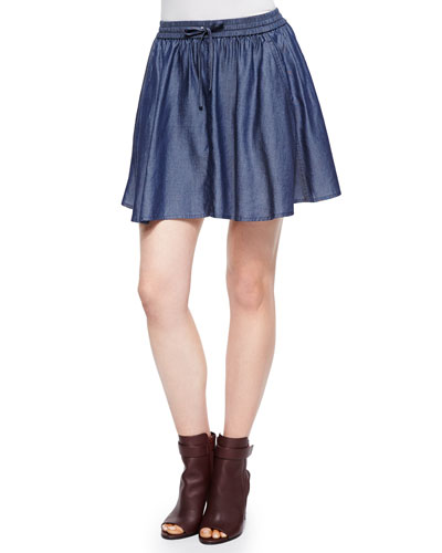 Feliz Pleated Chambray Short Skirt