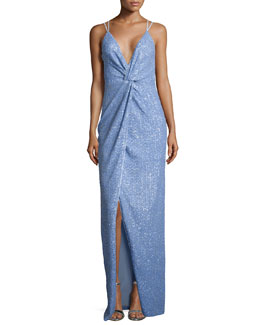 Halston Heritage Sleeveless V-Neck Twist Sequined Gown