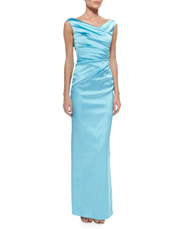 Talbot Runhof Colly V-Neck Side-Ruched Gown, Aqua