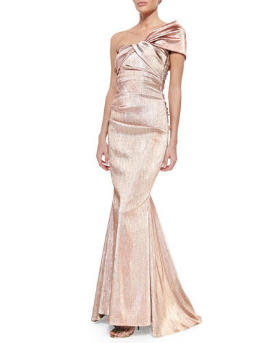 Cosima One-Shoulder Twist-Front Iridescent Gown, Rose