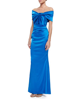 Talbot Runhof Govanti Adjustable Off-The-Shoulder Twist Gown, Blue